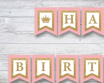 Birthday Banner Girl Printable, Pink and Gold Glitter First 1st First Happy Birthday, Instant download printable party decoration
