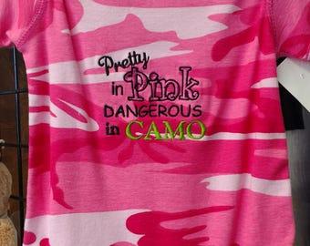 Pretty in Pink, Dangerous in Camo infant creeper