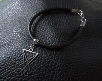 Satan  sigil genuine black leather bracelet satanic occult jewelry