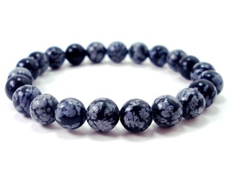 Snowflake Obsidian 8 mm beads Bracelet,Natural Gemstone Bracelet,Unisex Women Men Bracelet