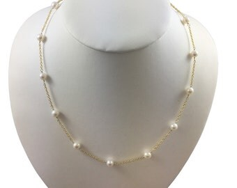 """Sterling Silver 925 Station Necklace """"Tin Cup """" with Fresh Water Cultured Pearls 5.5-6mm AAA, 17"""""""