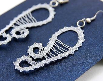 Silver Bobbin Lace Earings