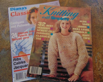 Knitting With Simplicity and Diana's Classic Knitting , 1986 , 2 Knitting Magazines