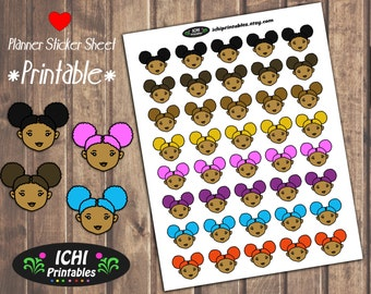 Cute Afro Puffs Printable Planner Stickers, Afro Planner Stickers, Cute Natural Hair, Black Girl Magic, Kawaii Black Girls Hair Stickers