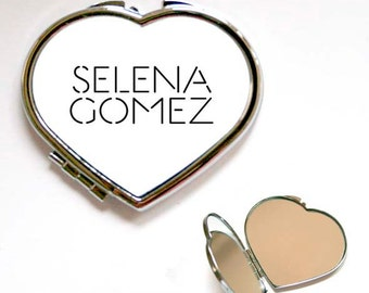 Selena Gomez Name Square or Heart Shape Compact Mirror, Handbag mirror, Accessories, Make Up Mirror, Gift, Present
