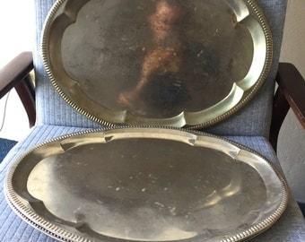 Large Vintage Inspired Brassy Aluminium Serving Tray