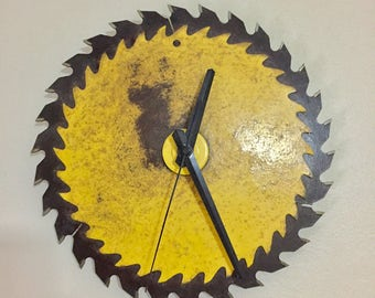 Industrial Vintage Yellow Dual Circular Saw Blade Wall Clock
