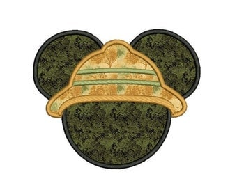 Safari Mickey Mouse Applique Design - Mickey mouse head applique - Disney embroidery design - Machine embroidery - Applique for boys