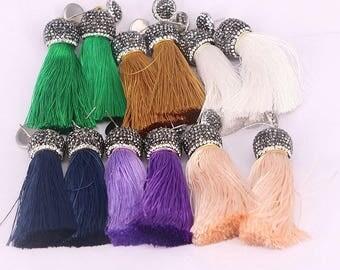 Bohemia Silk Tassel Earring, 65mm Long Tassel, Rhinstone Cap Big Tassel Dangle Earrings