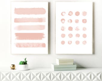 Blush Pink Abstract Art, Brushstrokes, Ink blot Painting, Neutral Abstract Art, Printable Minimal Art, Original Wall Art