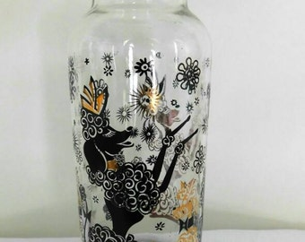 Vintage 1960s Poodle Vase with black and gold dancing poodles  Starbursts and flowers