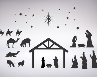 Insane image within nativity scene silhouette printable