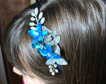 Headband blue & silver. Collection 3, Christmas-2016