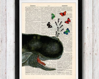 Playful Whale Vintage Upcycled page /   Whale Art Print / Dictionary Pages Vintage Book Print