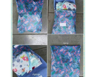 Diapers and wipes type about. Waterproof exterior