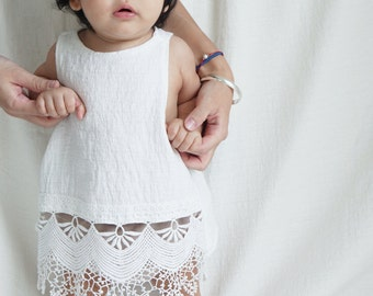 BABY LACE DRESS/ baby girl dress / cross back dress