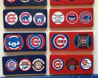 Chicago Cubs Wood Magnets - Set of 8