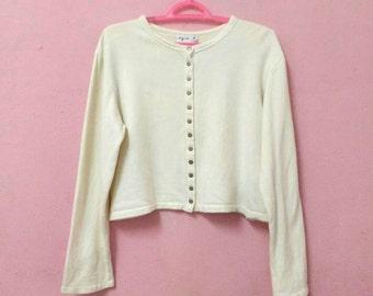 Rare!! Vintage Agnes b. Paris Button Women Fashion Designs Jacket Sweater