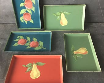 4 small metal rectangular trays with hand painted fruit