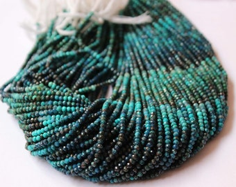 Crisocola Natural micro Faceted Beads rondelle 2.5mm to 3.00 mm Sold per 13-inch strand AAA Quality
