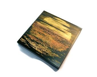 Lacquer Urushi Painting Japanese Art   Akebono (Sunrise on the sea)