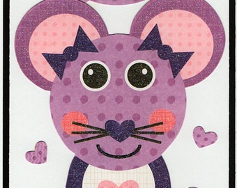 Mouse Love Valentine Paper Piecing Premade Scrapbook Card