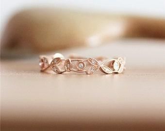 Full Eternity*14K Rose Gold Ring*Vintage Bridal Wedding Band* Diamond Wedding &Engagement Band*Anniversary Ring*Solid Gold Diamond Band