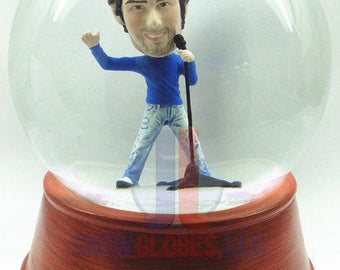 Hand sculpted single custom snow globe - Male singer 2 - with your head!