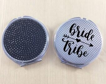 Bride Compact Mirror - Bride Tribe Mirrors - Pocket Mirrors - Custom Mirrors -  Bachelorette Favors - Bachelorette Party - Bridal Party Gift