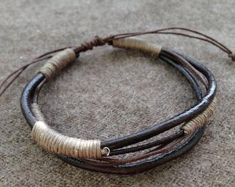 man made adjustable hand gift brown beige leather bracelet