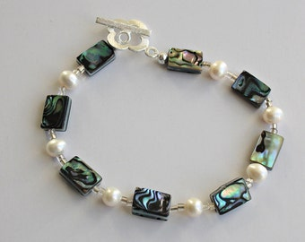 Handmade Abalone rectangles and white freshwater cultured pearl bracelet