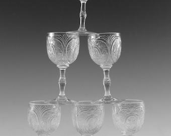 "John WALSH WALSH Crystal - INTAGLIO Cut - Set of 6 Liqueur Glasses - 3 1/2"""