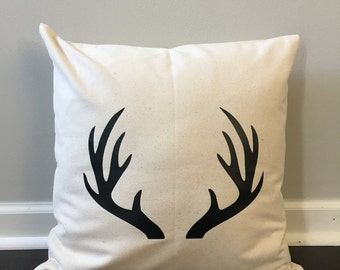 antler pillow cover. pillow cover. farmhouse pillow. home pillow