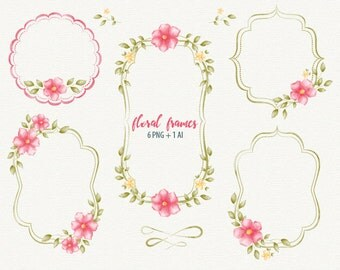 Wedding Frame Floral Watercolor Vector Shabby Chic Digital