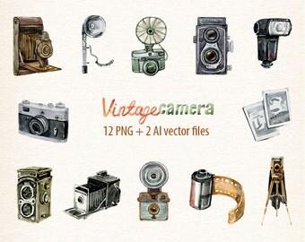 Camera, Watercolor camera, retro camera, photocamera, film, boho, floral, vector camera