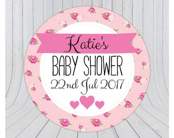 Baby shower stickers, baby shower favour stickers, Baby shower labels, personalised baby shower stickers, PINK 078