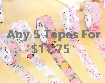 FIVE FOR 11.75 Japanese Washi Tape, Masking Tape, Planner Stickers,Crafting Supplies,Scraping Booking,Adhesive Tape,Floral Washi Tape