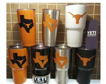 YETI - Authentic - UT University of Texas Longhorns Stainless Steel Yeti Cup 30oz Rambler Tumbler Burnt Orange Longhorns Yeti, UT Longhorns