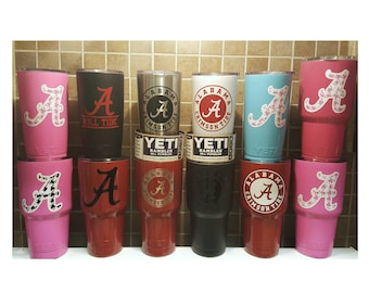YETI - Authentic ALABAMA Crimson Tide Bama Yeti Cup Mug 20 oz 30 oz Rambler Tumbler Powder Coated Student Grad Fan Gift large Cup 20oz 30oz