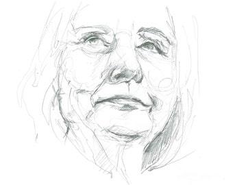 Print of Hillary Clinton drawing
