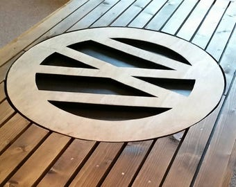 VW logo pine coffee table with steel hairpin legs