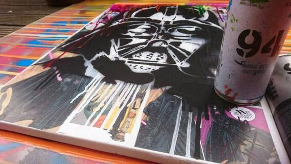 Darth Vader on canvas mixed media graffiti collage