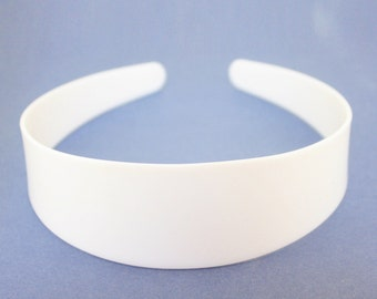 4cm HEADBAND CORE, white plastic aliceband centre, hair band former for your own designs. (Pack of 12)