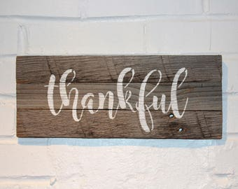 Thankful Reclaimed Wood Sign