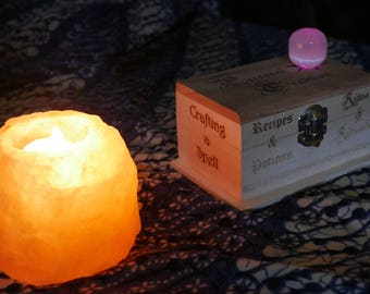 Custom Engraved Box for spells, recipes, and special magical items, with illuminated crystal