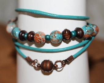 Marble and wood wrap bracelet