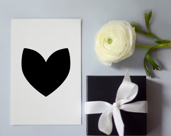 Heart Print, Printable Valentine Card, 10 x 15 cm, Black and White, 4x6 in, Wall Art, Printable Gift, Simple and Clean Design, Nordic, Love