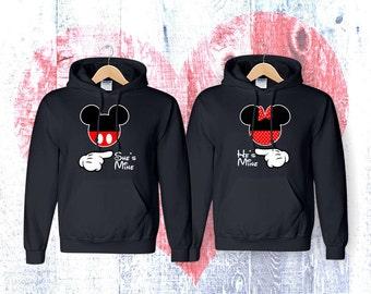 matching She'S Minie He's Mine Minnie Mickey  couple   matching couple hoodies  hoodies Sweatshirt Couple  Hoodie High Quality