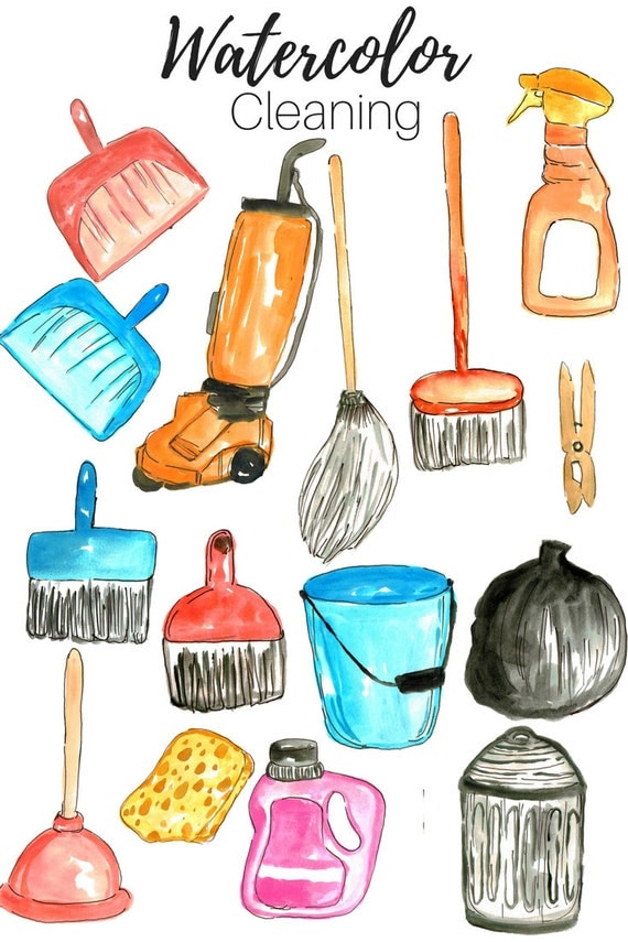 cleaning supplies clipart. cleaning clip art spring watercolor house supplies commercial use clipart