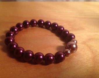 Beaded plum pearl bracelet